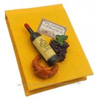 Magnet CARNET JAUNE Vin, Raisin, Croissant PLAISIRS DE FRANCE
