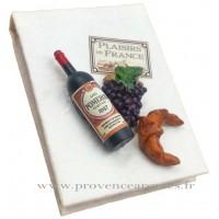 Magnet CARNET BLANC Vin, Raisin, Croissant PLAISIRS DE FRANCE