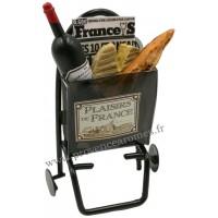 Magnet CADDIE 2 ROUES Garni Vin, Baguette, Fromage, Journal PLAISIRS DE FRANCE