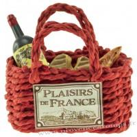 Magnet PANIER cabas rouge Garni Vin, camembert, baguette PLAISIRS DE FRANCE