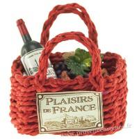 Magnet PANIER cabas rouge Garni Vin, croissant, raisin PLAISIRS DE FRANCE