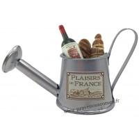 Magnet ARROSOIR Métal Galva Garni Vin, Saucisson, Pain PLAISIRS DE FRANCE
