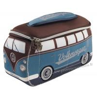 Trousse de toilette vw combi Volkswagen bleu et marron Brisa rétro vintage collection