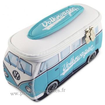 Trousse de toilette vw combi Volkswagen turquoise et blanc Brisa rétro vintage collection