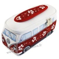 Trousse de toilette vw combi Volkswagen fleuri rouge PM Brisa rétro vintage collection