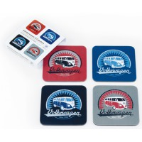 Dessous de verre combi Volkswagen Rouge, Bleu, Gris Brisa rétro vintage collection