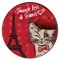 Magnet rond en verre chat FRENCH KISS à Paris déco rétro vintage
