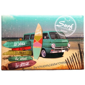magnet plaque surf sur la vague d co r tro vintage provence ar mes tendance sud. Black Bedroom Furniture Sets. Home Design Ideas