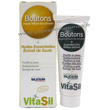 Soin ANTI-BOUTONS SILICIUM BIO ACTIVÉ Huile essentielles Extrait de Saule Vitasil 30 ml