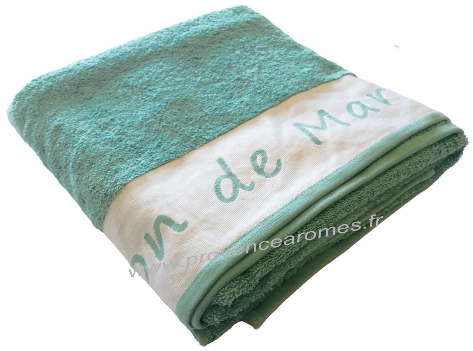 Drap De Bain Savon De Marseille drap de bain brodé savon de marseille couleur lagon - provence arômes  tendance sud