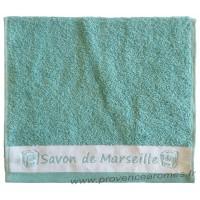 Serviette d'invité brodée SAVON DE MARSEILLE couleur Lagon