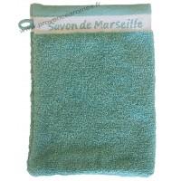 Gant de toilette brodé SAVON DE MARSEILLE couleur Lagon
