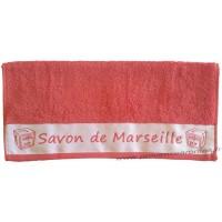 Serviette de toilette brodée SAVON DE MARSEILLE couleur Corail