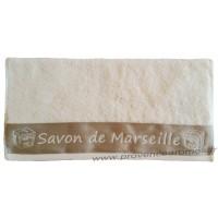 Serviette de toilette brodée SAVON DE MARSEILLE couleur Lagon