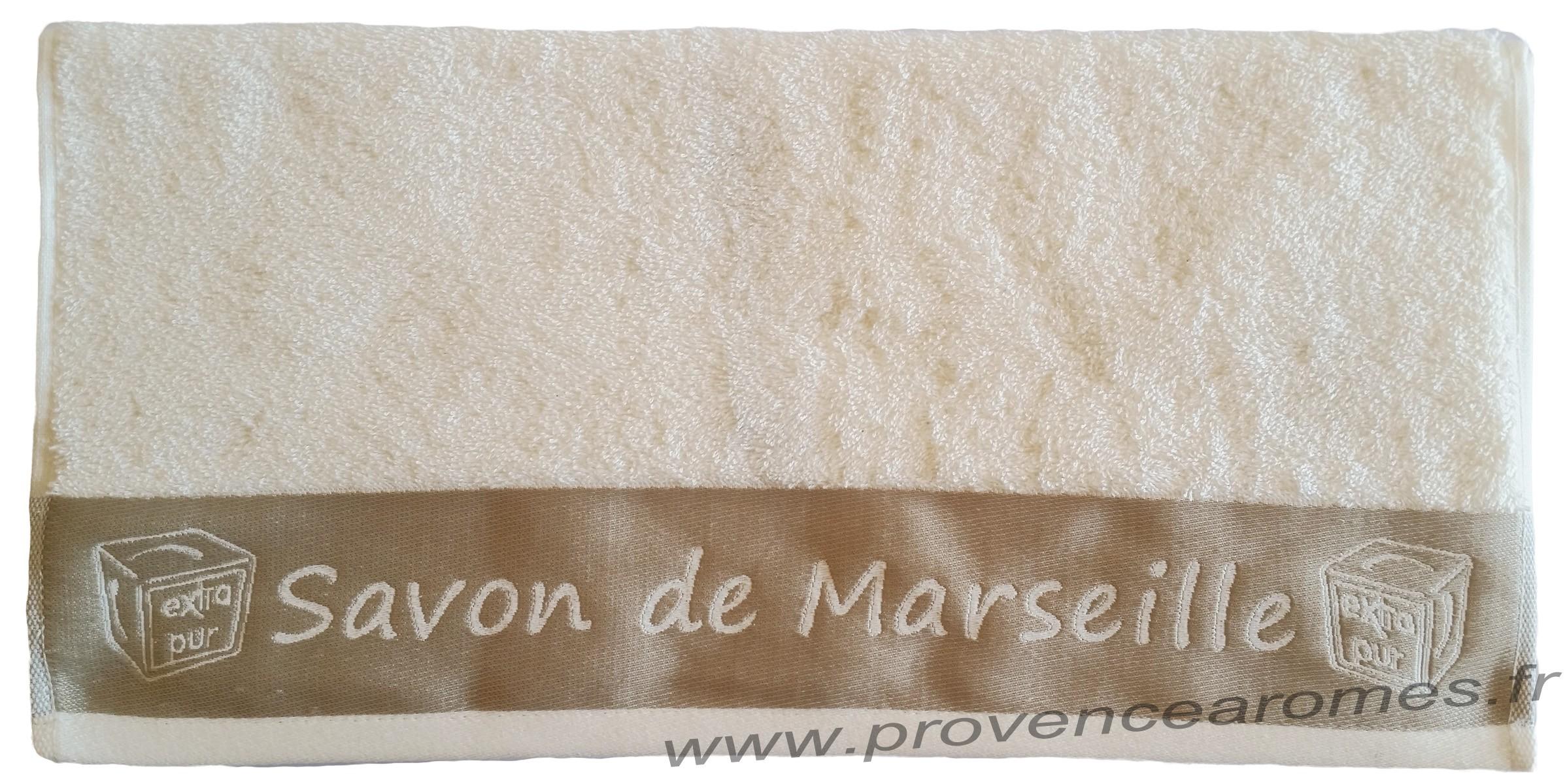 Drap De Bain Savon De Marseille serviette de toilette brodée savon de marseille couleur Écru - provence  arômes tendance sud