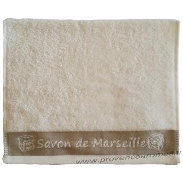 Serviette d'invité brodée SAVON DE MARSEILLE couleur Écru