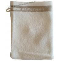 Gant de toilette brodé SAVON DE MARSEILLE couleur Écru