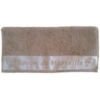 Serviette de toilette brodée SAVON DE MARSEILLE couleur Taupe