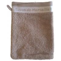 Gant de toilette brodé SAVON DE MARSEILLE couleur Taupe