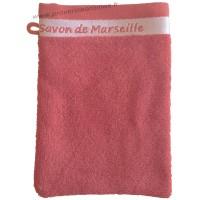 Gant de toilette brodé SAVON DE MARSEILLE couleur Corail