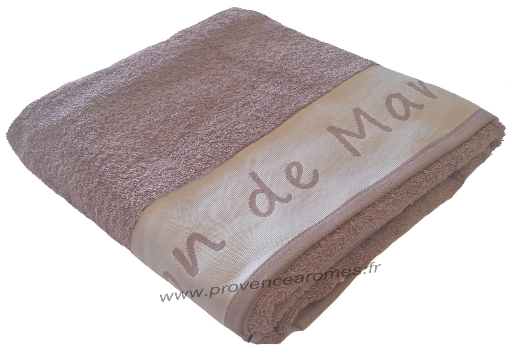 Drap De Bain Savon De Marseille drap de bain brodé savon de marseille couleur parme - provence arômes  tendance sud