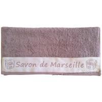 Serviette de toilette brodée SAVON DE MARSEILLE couleur Parme
