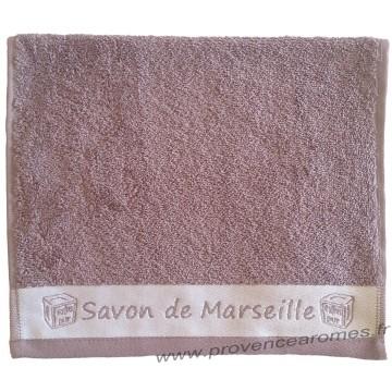 Serviette d'invité brodée SAVON DE MARSEILLE couleur Parme