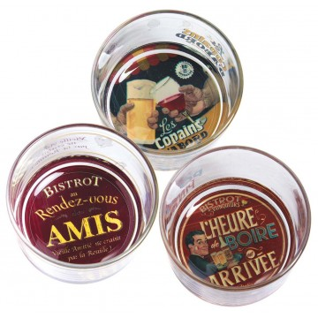 3 ramequins apéro BISTROT DES AMIS Natives déco rétro vintage