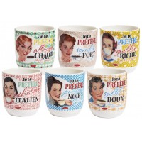 6 tasses à café céramique JE PRÉFÈRE Natives déco rétro vintage