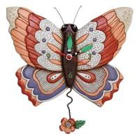 Horloge Papillon fleur à balancier déco vintage designs
