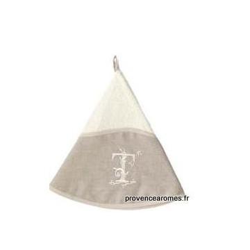 serviette main ronde brodée personnalisée initiale lettre T