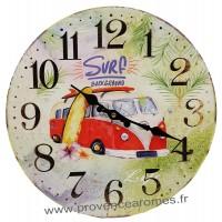Horloge VAN SURF BACKGROUND déco rétro vintage