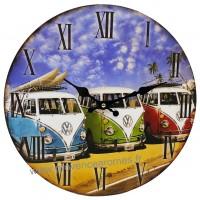 Horloge VAN Combi VW bleu Vert Rouge déco rétro vintage