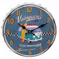 Horloge capsule métal VAN Vainqueur du Rallye Monte-Carlo déco rétro vintage