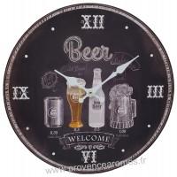 Horloge BEER WELCOME déco rétro vintage