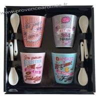 Coffret 4 Tasses à café et cuillères messages GOURMANDISES Prose-café