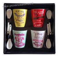 Coffret 4 Tasses à café et cuillères messages GIRLY Prose-café