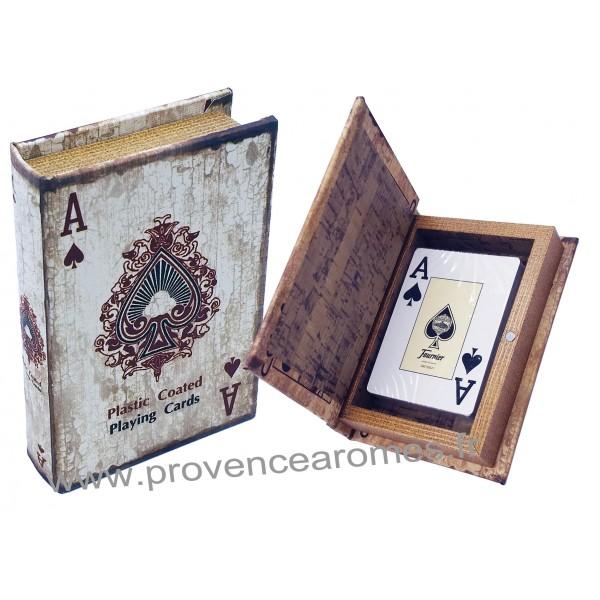 livre bo te en bois jeu de cartes d co as de pique r tro. Black Bedroom Furniture Sets. Home Design Ideas