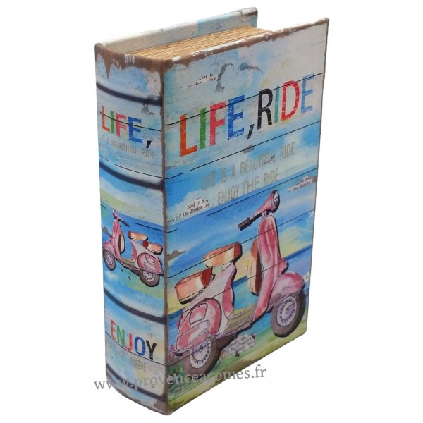 livre bo te en bois d co vespa life ride r tro vintage 14 cm provence ar mes tendance sud. Black Bedroom Furniture Sets. Home Design Ideas