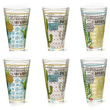 Coffret de 6 verres DU PIQUANT Natives déco rétro vintage
