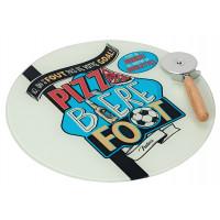 Plat à Pizza avec roulette de découpe PIZZA BIÈRE FOOT Natives déco rétro vintage