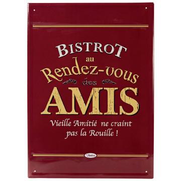 Grande Plaque métal BISTROT DES AMIS Natives déco rétro vintage