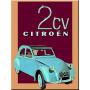 Plaque métal 2 CV deux chevaux Citroën 15 x 20 cm déco rétro vintage