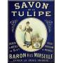 Plaque métal SAVON TULIPE 15 X 20 cm déco rétro vintage