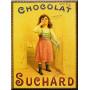 Plaque métal Chocolat SUCHARD petite fille 15 x 20 cm déco rétro vintage