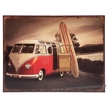 plaque m tal van rouge surf 33 x 25 cm d co r tro vintage provence ar mes tendance sud. Black Bedroom Furniture Sets. Home Design Ideas