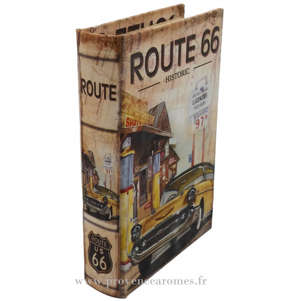 livre bo te en bois d co route 66 r tro vintage 24 cm mod le 2 provence ar mes tendance sud. Black Bedroom Furniture Sets. Home Design Ideas