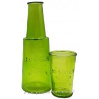 Carafe verte avec verre, carafe de chevet déco rétro vintage