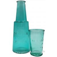 Carafe bleue avec verre, carafe de chevet déco rétro vintage