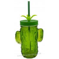 Verre Cactus avec paille et couvercle couleur vert